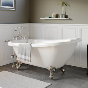 "Cambridge Plumbing Slipper Clawfoot Tub - 67"" X 28"" Acrylic with no Faucet Drilling & Complete Brushed Nickel Plumbing Package - AST67-398684-PKG-BN-NH-Bath Parlor"