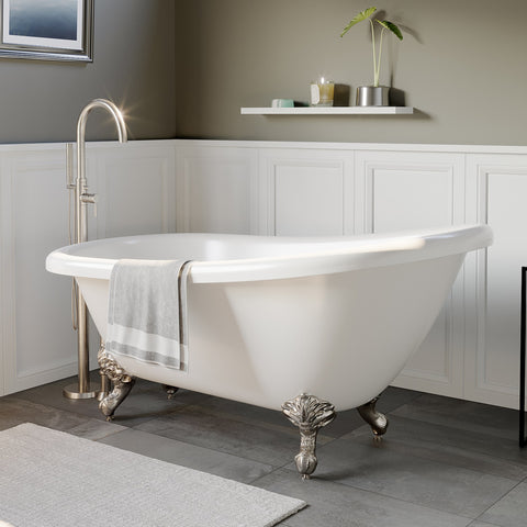 "Image of Cambridge Plumbing Slipper Clawfoot Tub - 67"" X 28"" Acrylic with No Faucet Drilling & Brushed Nickel Feet - AST67-NH-BN-Bath Parlor"
