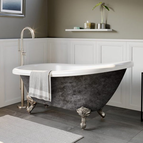 "Image of Cambridge Plumbing Slipper Scorched Platinum Clawfoot Tub - 67"" x 28"" Acrylic with 7"" Deck Mount Faucet Holes & Brushed Nickel Ball and Claw Feet - AST67-DH-BN-SP-Bath Parlor"