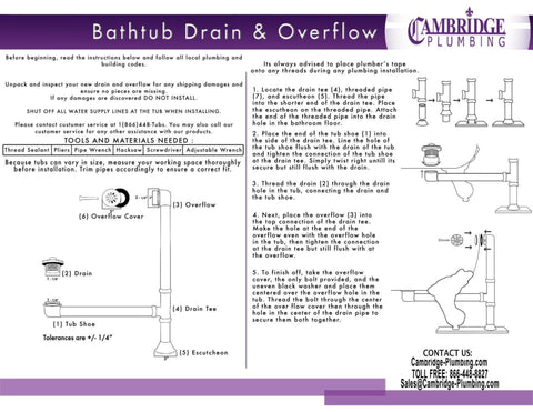 Image of Cambridge Plumbing Modern Lift & Turn Tub Drain with Overflow Assembly-Brushed Nickel - CAM1900LTB-BN-Bath Parlor