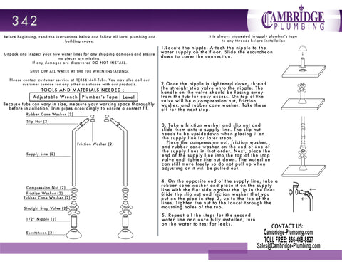 Image of Cambridge Plumbing Clawfoot Tub Wall Mount Supply Lines-Brushed Nickel - CAM342-BN - Bath Parlor