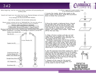 Cambridge Plumbing Clawfoot Tub Wall Mount Supply Lines-Brushed Nickel - CAM342-BN - Bath Parlor