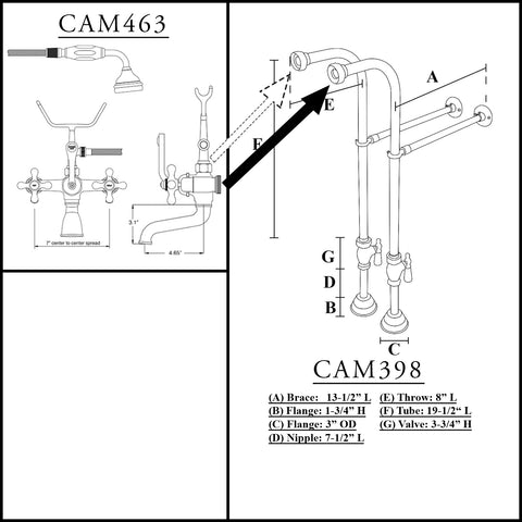 Image of Cambridge Plumbing Free Standing Plumbing Package for Clawfoot Tub Includes Free Standing Supply Lines, Faucet and drain assembly. Polished Chrome - CAM398463-PKG-CP-Bath Parlor