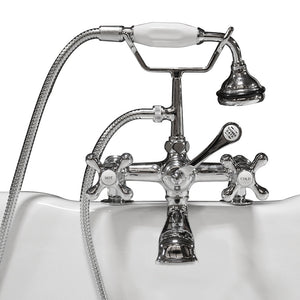 Cambridge Plumbing Clawfoot Tub Deck Mount Brass Faucet with Hand Held Shower-Polished Chrome - CAM463-2-CP - Bath Parlor
