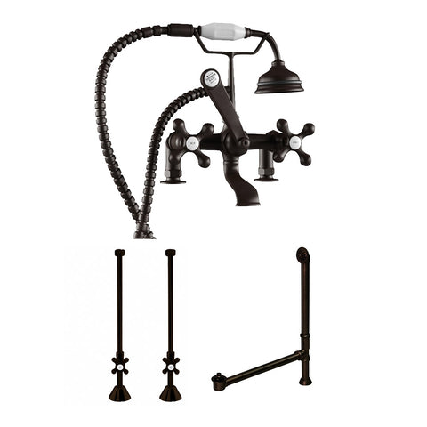 Image of Cambridge Plumbing Complete Plumbing Package for Deck Mount Claw Foot Tub. Classic Telephone Style Faucet With 2 Inch Deck Risers, Supply Lines With Shut Off valves, Drain Assembly. Oil Rubbed Bronze.- CAM463D-2-PKG-ORB - Bath Parlor