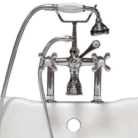 "Image of Cambridge Plumbing Clawfoot Tub - 6"" Deck Mount Brass Faucet with Hand Held Shower- Polished Chrome - CAM463D-6-CP - Bath Parlor"