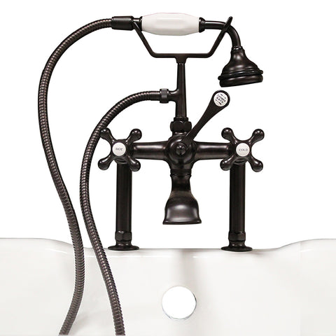 "Image of Cambridge Plumbing Clawfoot Tub - 6"" Deck Mount Brass Faucet with Hand Held Shower- Oil Rubbed Bronze - CAM463D-6-ORB - Bath Parlor"