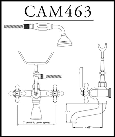Image of Cambridge Plumbing Clawfoot Tub Deck Mount Brass Faucet with Hand Held Shower-Brushed Nickel - CAM463-2-BN - Bath Parlor