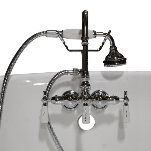 Image of Cambridge Plumbing Clawfoot Tub Brass Wall Mount Faucet with Hand Held Shower-Polished Chrome - CAM684BTW-CP - Bath Parlor