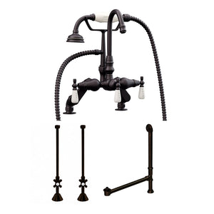 Cambridge Plumbing Complete Plumbing Package For Claw Foot Tub. Gooseneck Faucet, Supply Lines With Shut Off Valves, Drain and Overflow Assembly. Oil Rubbed Bronze Finish - CAM684D-PKG-ORB - Bath Parlor