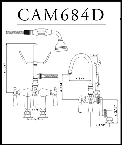 Image of Cambridge Plumbing Clawfoot Tub Deck Mount Porcelain Lever English Telephone Brass Faucet with Hand Held Shower-Polished Chrome - CAM684D-CP - Bath Parlor