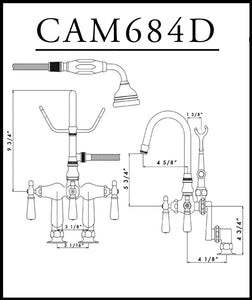 Cambridge Plumbing Clawfoot Tub Deck Mount Porcelain Lever English Telephone Brass Faucet with Hand Held Shower-Polished Chrome - CAM684D-CP - Bath Parlor