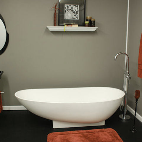 "Image of Cambridge Plumbing Double Ended Pedestal Bathtub - 71"" Cultured Marble - CM01 - Bath Parlor"