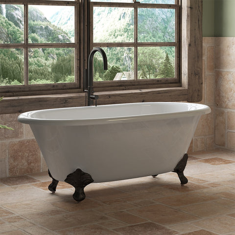 "Cambridge Plumbing Double Ended Clawfoot Tub - 60"" X 30"" Cast Iron - Complete Oil Rubbed Bronze Modern Freestanding Tub Filler with Hand Held Shower Assembly Plumbing Package - DE60-150-PKG-ORB-NH - Bath Parlor"