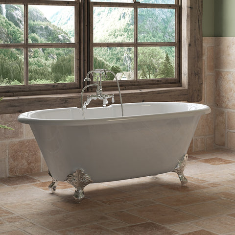 "Image of Cambridge Plumbing Double Ended Clawfoot Tub - 60"" X 30"" Cast Iron - English Telephone Style Faucet Complete Polished Chrome Plumbing Package - DE60-684D-PKG-CP-7DH - Bath Parlor"