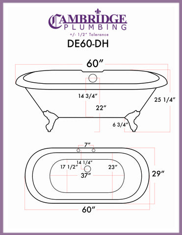 "Image of Cambridge Plumbing Double Ended Pedestal Tub  - 60"" X 30"" Cast Iron with 7"" Deck Mount Faucet Drillings - DE60-PED-DH - Bath Parlor"