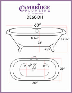 "Cambridge Plumbing Double Ended Pedestal Tub  - 60"" X 30"" Cast Iron with 7"" Deck Mount Faucet Drillings - DE60-PED-DH - Bath Parlor"