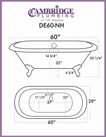 "Image of Cambridge Plumbing Double Ended Clawfoot Tub - 60"" X 30"" Cast Iron - Complete Brushed Nickel Modern Freestanding Tub Filler with Hand Held Shower Assembly Plumbing Package - DE60-150-PKG-BN-NH - Bath Parlor"