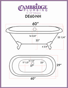 "Cambridge Plumbing Double Ended Clawfoot Tub - 60"" X 30"" Cast Iron - Complete Brushed Nickel Modern Freestanding Tub Filler with Hand Held Shower Assembly Plumbing Package - DE60-150-PKG-BN-NH - Bath Parlor"