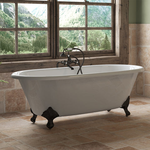 "Cambridge Plumbing Double Ended Clawfoot Tub - 67"" X 30"" Cast Iron with No Faucet Drilling & Complete Oil Rubbed Bronze Plumbing Package - DE67-398463-PKG-ORB-NH - Bath Parlor"
