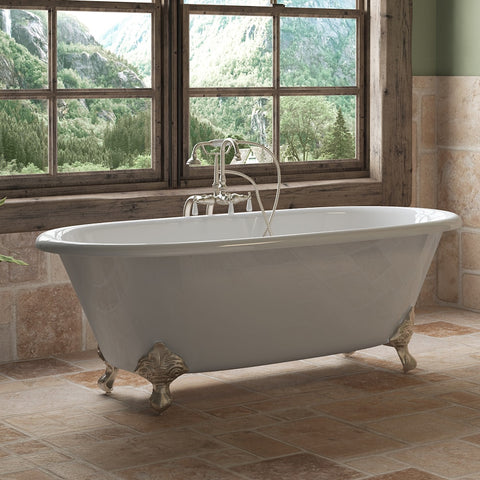 "Cambridge Plumbing Double Ended Clawfoot Tub - 67"" X 30"" Cast Iron - Complete Brushed Nickel Free-Standing English Telephone Style Faucet with Hand Held Shower Assembly Plumbing Package - DE67-398684-PKG-BN-NH - Bath Parlor"