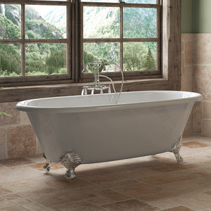 "Cambridge Plumbing Double Ended Clawfoot Tub - 67"" X 30"" Cast Iron - Complete Polished Chrome Free-Standing English Telephone Style Faucet with Hand Held Shower Assembly Plumbing Package - DE67-398684-PKG-CP-NH - Bath Parlor"