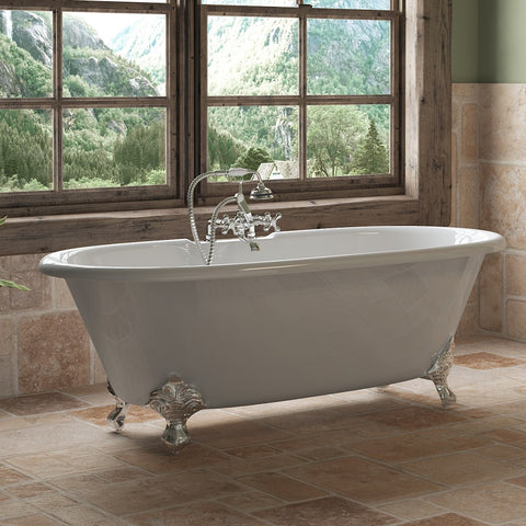 "Image of Cambridge Plumbing Double Ended Clawfoot Tub - 67"" X 30"" Cast Iron - Complete Polished Chrome Plumbing Package - DE67-463D-2-PKG-CP-7DH - Bath Parlor"