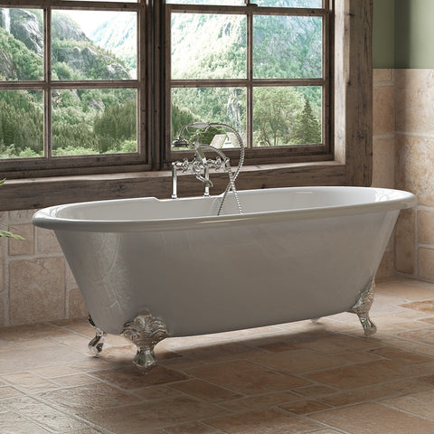 "Image of Cambridge Plumbing Double Ended Clawfoot Tub - 67"" X 30"" Cast Iron - Complete Polished Chrome Plumbing Package With Six Inch Deck Mount Risers - DE67-463D-6-PKG-CP-7DH - Bath Parlor"