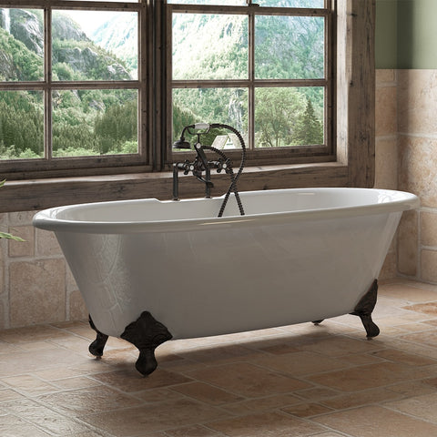 "Image of Cambridge Plumbing Double Ended Clawfoot Tub - 67"" X 30"" Cast Iron - Complete Oil Rubbed Bronze Plumbing Package With Six Inch Deck Mount Risers - DE67-463D-6-PKG-ORB-7DH - Bath Parlor"