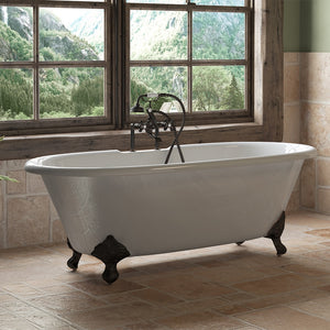 "Cambridge Plumbing Double Ended Clawfoot Tub - 67"" X 30"" Cast Iron - Complete Oil Rubbed Bronze Plumbing Package With Six Inch Deck Mount Risers - DE67-463D-6-PKG-ORB-7DH - Bath Parlor"