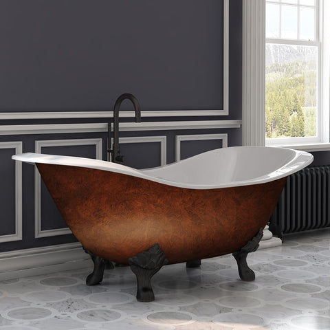 "Cambridge Plumbing Pedestal Bathtub No Holes - 71"" X 30""  Cast Iron - Oil Rubbed Bronze Feet - DES-NH-ORB-CB - Bath Parlor"