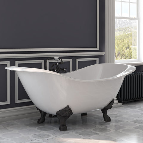 "Cambridge Plumbing Double Slipper Clawfoot Tub - Cast Iron - Complete Oil Rubbed Bronze Plumbing Package - DES-463D-2-PKG-ORB-7DH  (71""L × 30""W × 31""H) - Bath Parlor"