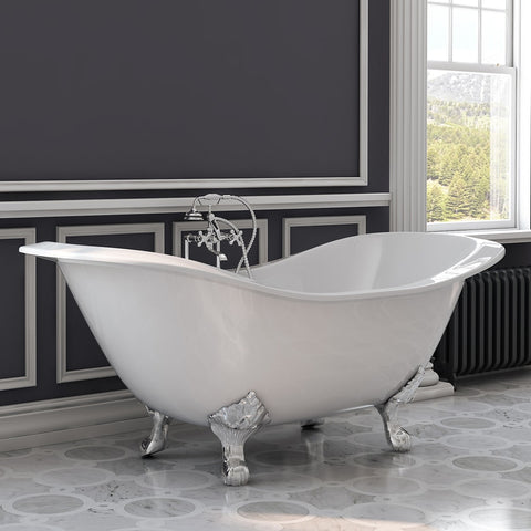"Image of Cambridge Plumbing Double Ended Slipper Tub - Cast Iron - British Telephone Style Faucet Complete Polished Chrome Plumbing Package With 6"" Deck Mount Risers - DES-463D-6-PKG-CP-7DH (72""L × 31""W × 31""H) - Bath Parlor"