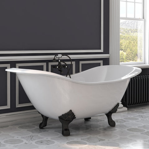 "Cambridge Plumbing Double Ended Slipper Tub - Cast Iron - British Telephone Style Faucet Complete Oil Rubbed Bronze Plumbing Package With 6"" Deck Mount Risers - DES-463D-6-PKG-ORB-7DH (71""L × 30""W × 31""H) - Bath Parlor"