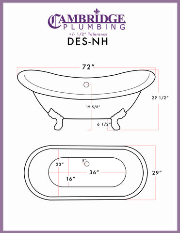 "Cambridge Plumbing Double Ended Slipper Tub - Cast Iron - Complete Brushed Nickel Free-Standing English Telephone Style Faucet with Hand Held Shower Assembly Plumbing Package - DES-398684-PKG-BN-NH (71""L x 30""W x 31""H) - Bath Parlor"