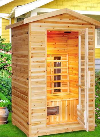 "SunRay 2 Person Outdoor Burlington Infrared Sauna (HL200D) (83""H x 57""W x 46""D)-Bath Parlor"