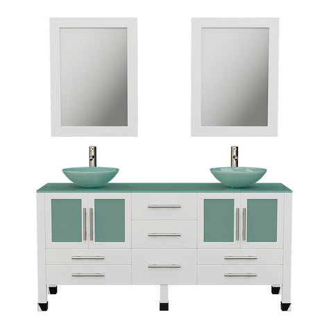 "Image of 63"" Double Bathroom Vanity Set - Cambridge Plumbing White Wood and Glass Vessel Sink with a frosted glass countertop and two matching vessel sinks. Two tall faucet chrome -  8119BW-BN - Bath Parlor"