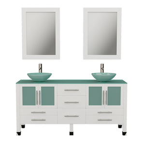 "63"" Double Bathroom Vanity Set - Cambridge Plumbing White Wood and Glass Vessel Sink with a frosted glass countertop and two matching vessel sinks. Two tall faucet chrome -  8119BW-BN - Bath Parlor"