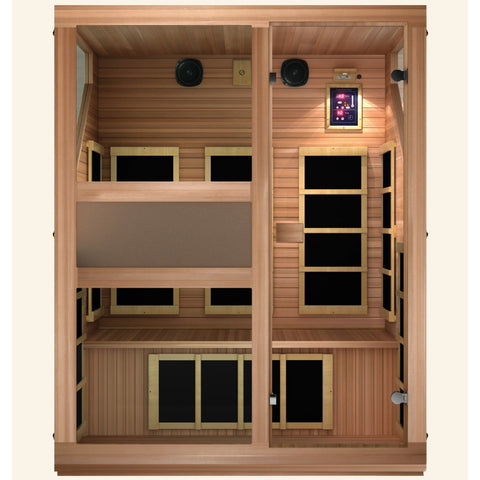 JNH Lifestyles Ensi RED™ 3 Person Far Infrared Sauna  (Top Grade Red Cedar) - Bath Parlor