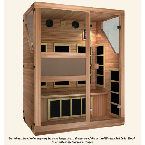 Image of JNH Lifestyles Ensi RED™ 3 Person Far Infrared Sauna  (Top Grade Red Cedar) - Bath Parlor