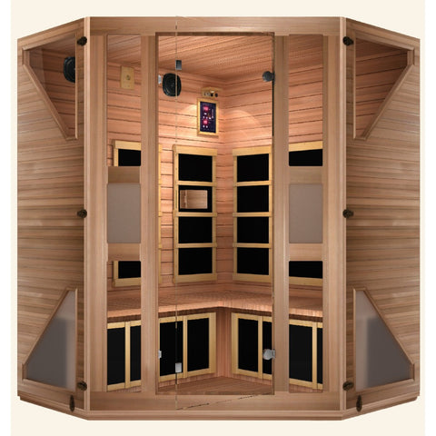 Image of JNH Lifestyles Ensi RED™ Corner Far Infrared Sauna (Top Grade Red Cedar) - Bath Parlor