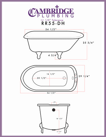 "Image of Cambridge Plumbing Rolled Rim Clawfoot Tub - 55"" X 30"" Cast-IronEnglish Telephone Style Faucet Complete Oil Rubbed Bronze Plumbing Package - RR55-684D-PKG-ORB-7DH-Bath Parlor"