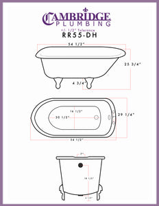 "Cambridge Plumbing Rolled Rim Clawfoot Tub - 55"" X 30"" Cast-IronEnglish Telephone Style Faucet Complete Oil Rubbed Bronze Plumbing Package - RR55-684D-PKG-ORB-7DH-Bath Parlor"