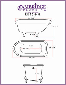 "Cambridge Plumbing Rolled Rim Clawfoot Tub - 55"" X 30"" Cast-Iron with no Faucet Drilling & Complete Brushed Nickel Free-Standing English Telephone Style Faucet with Hand Held Shower Assembly Plumbing Package - RR55-398684-PKG-BN-NH-Bath Parlor"