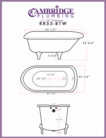 "Image of Cambridge Plumbing Rolled Rim Clawfoot Tub Wall Holes - 55"" X 30"" Cast-Iron with 3 3/8"" Bathtub Wall Faucet Drilling & English Telephone Style Faucet Complete Brushed Nickel Plumbing Package - RR55-684BTW-PKG-BN-338WH-Bath Parlor"