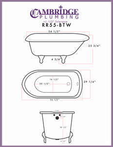 "Cambridge Plumbing Rolled Rim Clawfoot Tub Wall Holes - 55"" X 30"" Cast-Iron with 3 3/8"" Bathtub Wall Faucet Drilling & English Telephone Style Faucet Complete Brushed Nickel Plumbing Package - RR55-684BTW-PKG-BN-338WH-Bath Parlor"