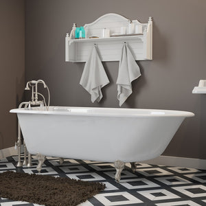 "Cambridge Plumbing Rolled Rim Clawfoot Tub - 61"" X 30"" Cast-Iron with no Faucet Drilling & Complete Brushed Nickel Free-Standing English Telephone Style Faucet with Hand Held Shower Assembly Plumbing Package - RR61-398684-PKG-BN-NH-Bath Parlor"