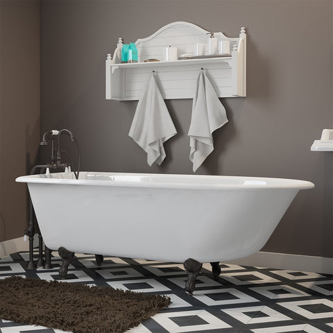 "Cambridge Plumbing Rolled Rim Clawfoot Tub - 61"" X 30"" Cast-Iron with no Faucet Drilling & Complete Oil Rubbed Bronze Free-Standing English Telephone Style Faucet with Hand Held Shower Assembly Plumbing Package - RR61-398684-PKG-ORG-NH-Bath Parlor"