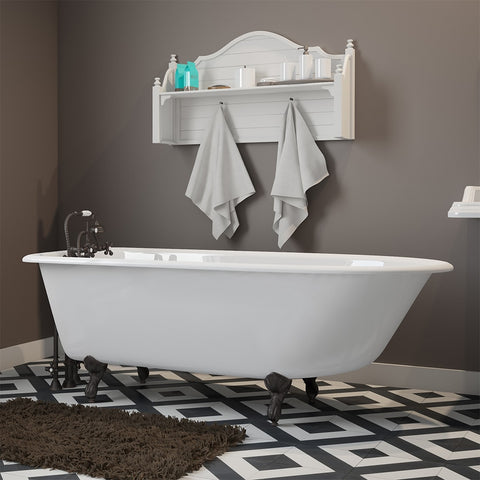 "Image of Cambridge Plumbing Rolled Rim Clawfoot Tub Wall Holes - 61"" X 30"" Cast-Iron with 3 3/8"" Bathtub Wall Faucet Drilling & British Telephone Style Faucet Complete Oil Rubbed Bronze Plumbing Package - RR61-463BTW-PKG-ORB-338WH-Bath Parlor"