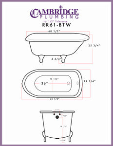 "Cambridge Plumbing Rolled Rim Clawfoot Tub Wall Holes - 61"" X 30"" Cast-Iron with 3 3/8"" Bathtub Wall Faucet Drilling & British Telephone Style Faucet Complete Oil Rubbed Bronze Plumbing Package - RR61-463BTW-PKG-ORB-338WH-Bath Parlor"